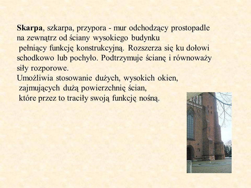 Skarpa, szkarpa, przypora - mur odchodzący prostopadle