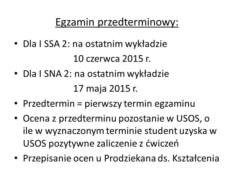 Egzamin przedterminowy: