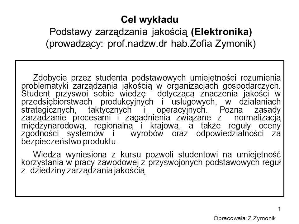 Cel wykładu Podstawy zarządzania jakością (Elektronika) (prowadzący: prof.nadzw.dr hab.Zofia Zymonik)