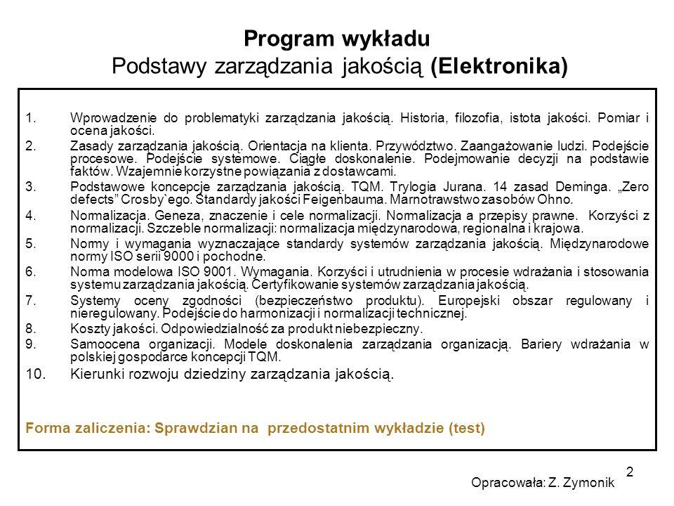 Program wykładu Podstawy zarządzania jakością (Elektronika)
