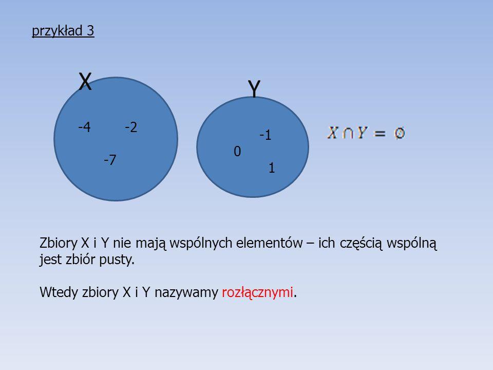 przykład 3 X. Y. -4 -2. -7. -1. 1. Zbiory X i Y nie mają wspólnych elementów – ich częścią wspólną jest zbiór pusty.