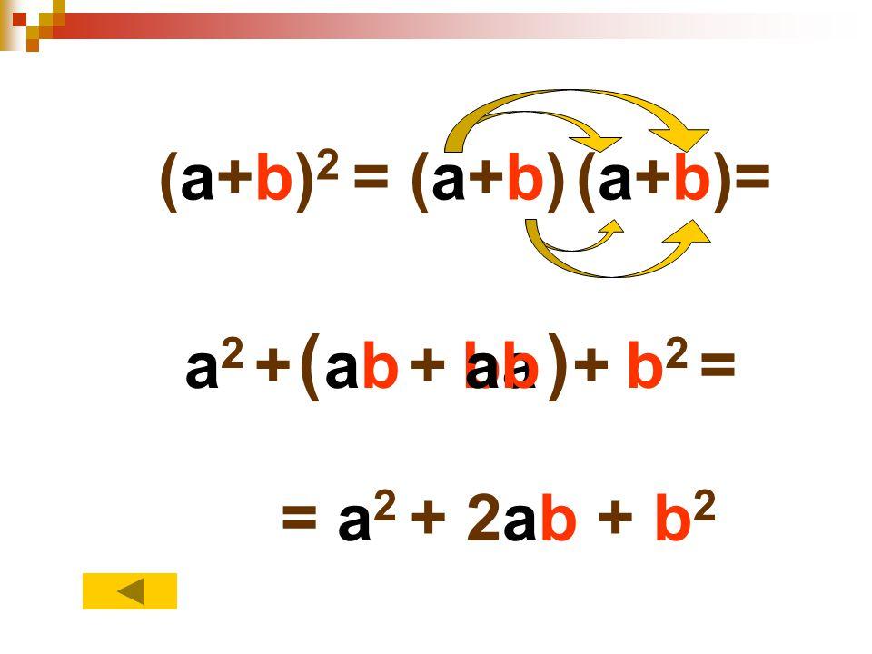 (a+b)2 = (a+b) (a+b)= ( ) a2 + ab + ba ab + b2 = = a2 + 2ab + b2