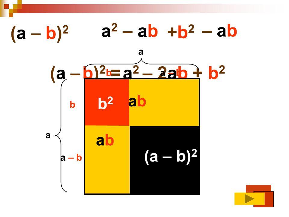 a2 – ab – ab (a – b)2 +b2 (a – b)2 = a2 – 2ab + b2 ab b2 ab (a – b)2 a