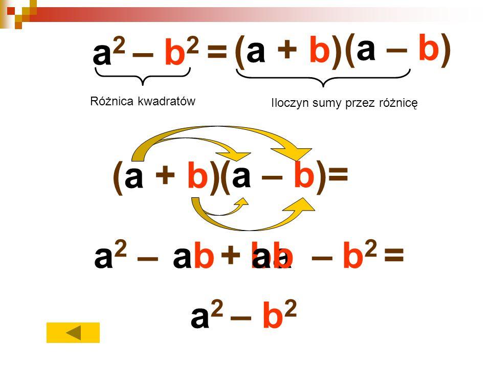 (a – b) a2 – b2 = (a + b) (a + b) (a – b)= a2 – ab + ba ab – b2 =