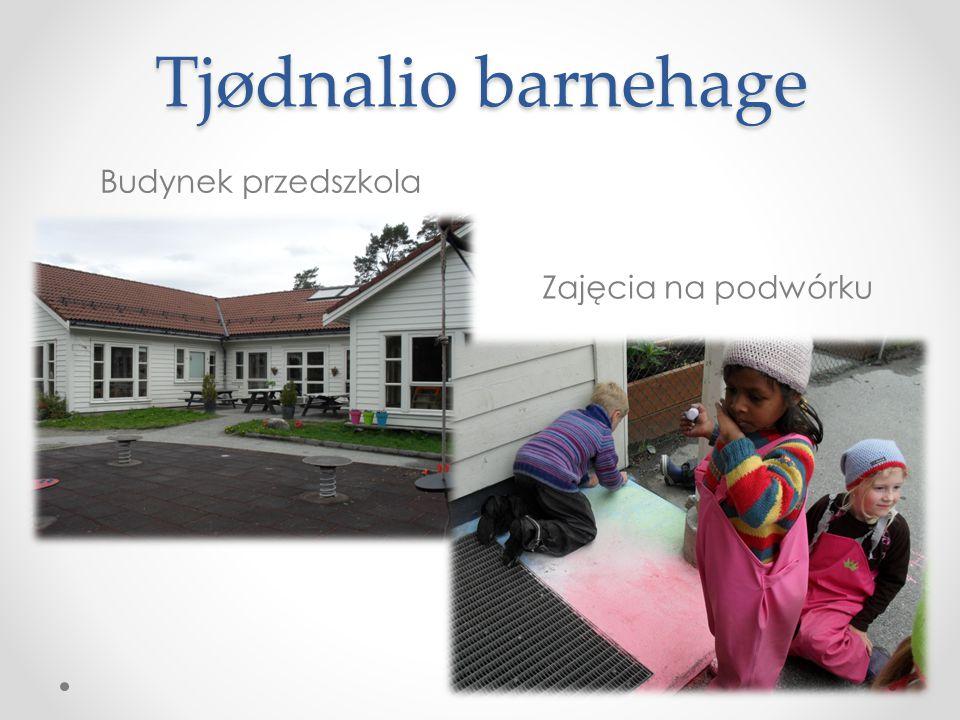 Tjødnalio barnehage Budynek przedszkola Zajęcia na podwórku