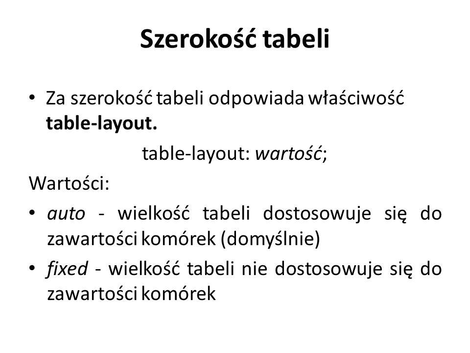 table-layout: wartość;