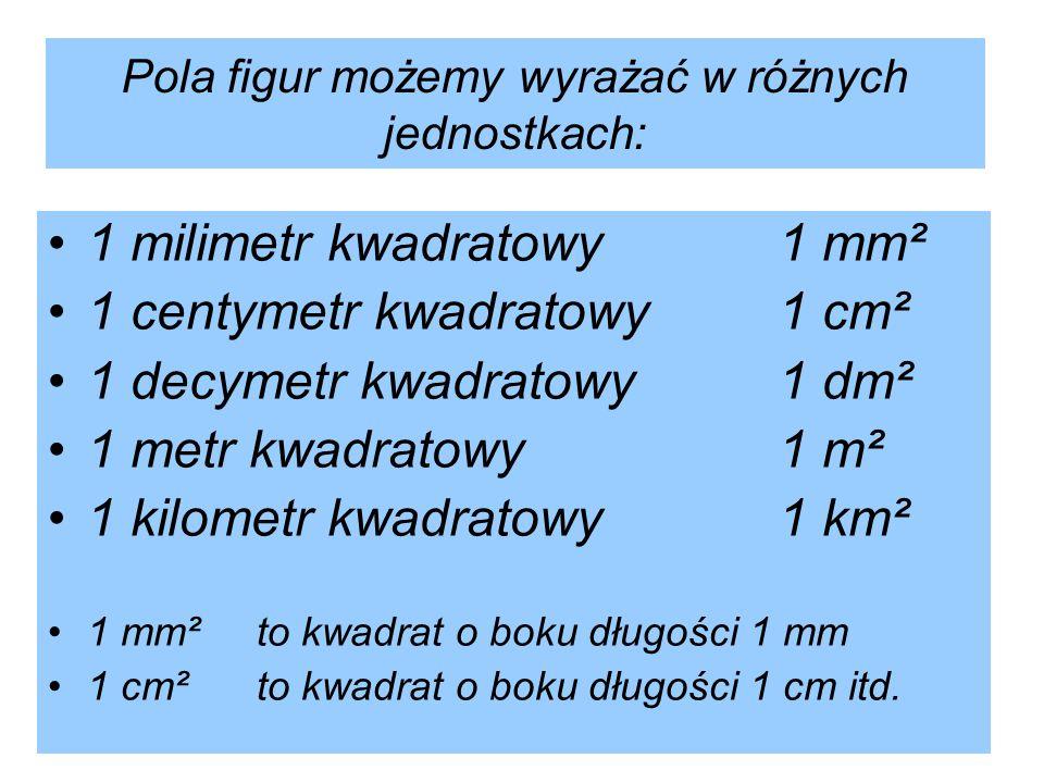 Pola figur możemy wyrażać w różnych jednostkach:
