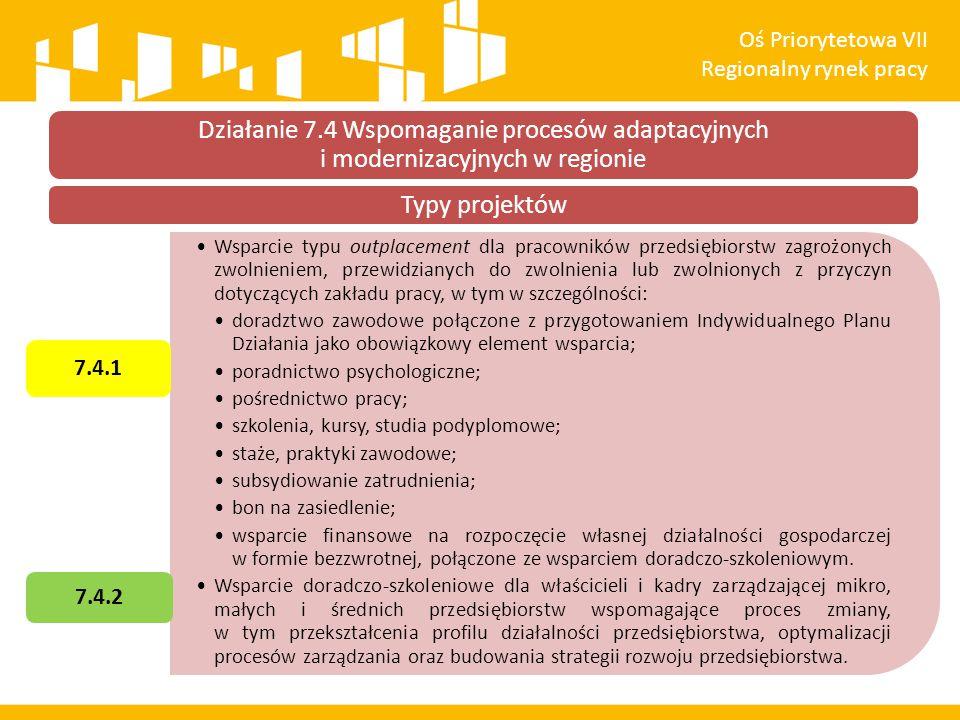 Oś Priorytetowa VII Regionalny rynek pracy. Działanie 7.4 Wspomaganie procesów adaptacyjnych i modernizacyjnych w regionie.