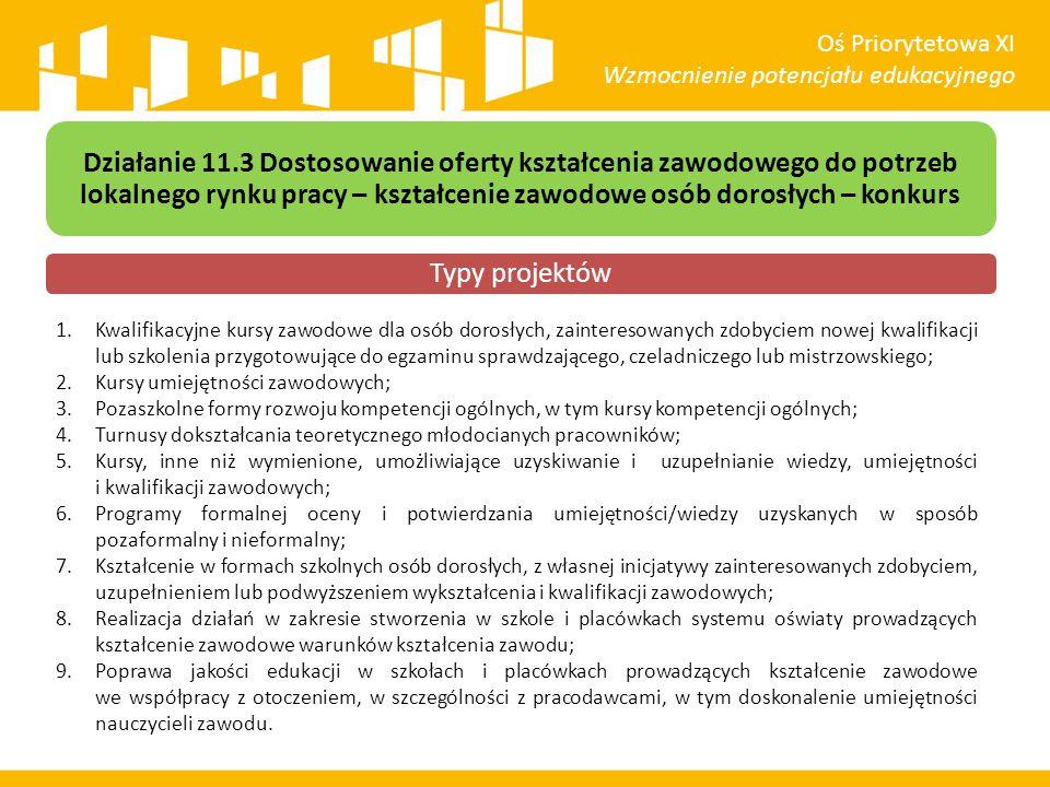 Oś Priorytetowa XI Wzmocnienie potencjału edukacyjnego