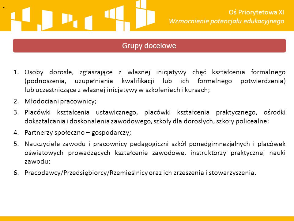 Grupy docelowe Oś Priorytetowa XI Wzmocnienie potencjału edukacyjnego