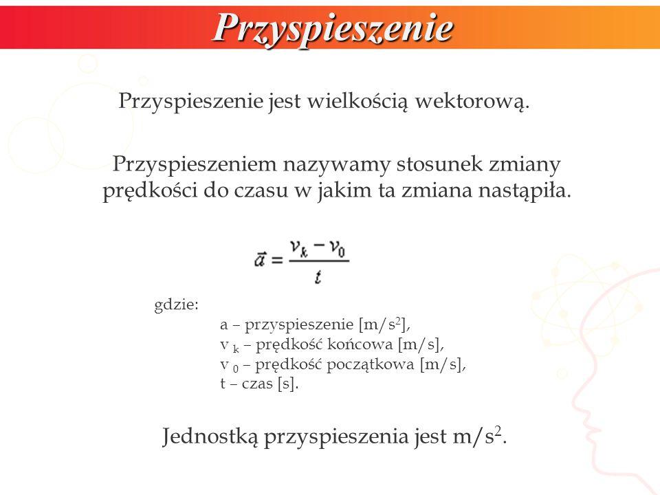 Przyspieszenie Przyspieszenie jest wielkością wektorową.