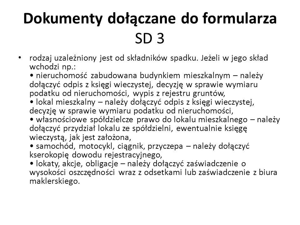 Dokumenty dołączane do formularza SD 3