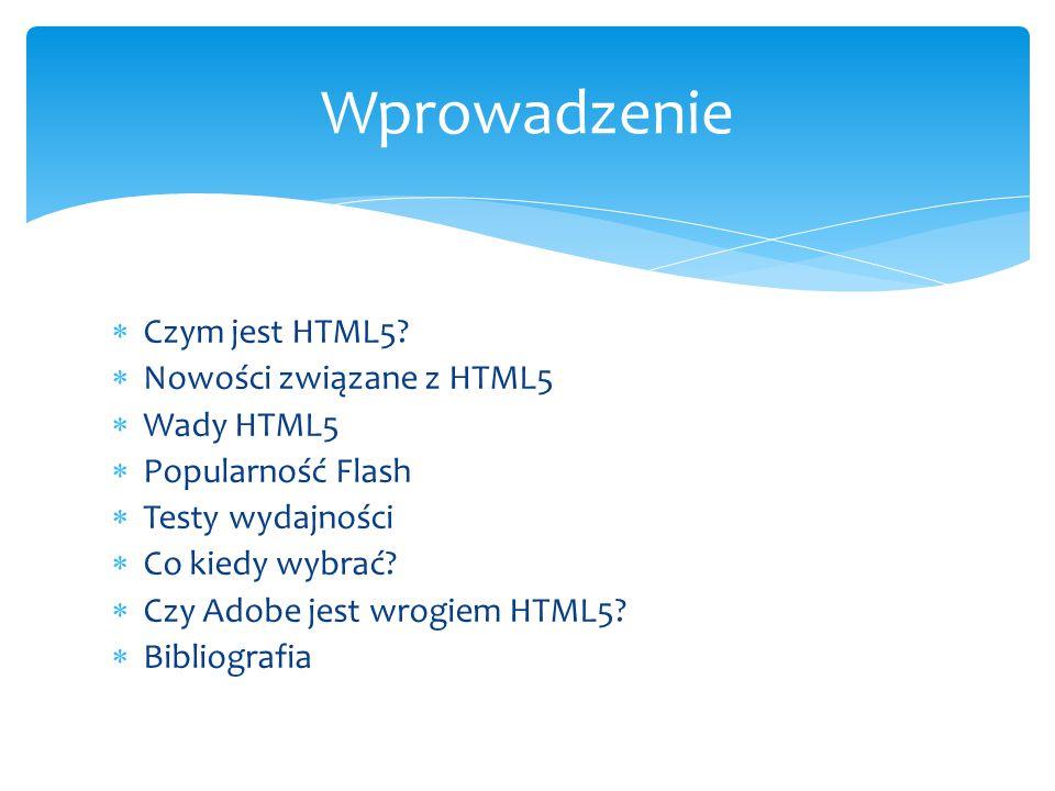 Wprowadzenie Czym jest HTML5 Nowości związane z HTML5 Wady HTML5