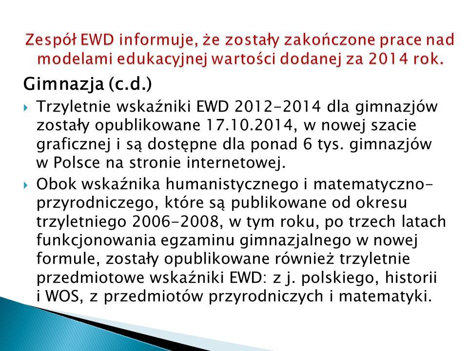 Zespół EWD informuje, że zostały zakończone prace nad modelami edukacyjnej wartości dodanej za 2014 rok.