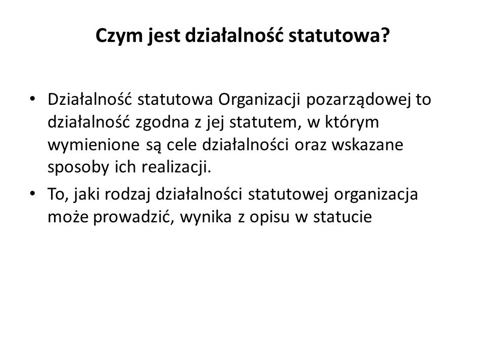Czym jest działalność statutowa