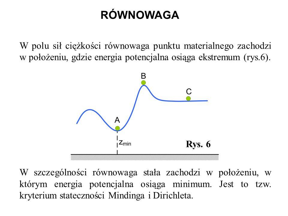 RÓWNOWAGA W polu sił ciężkości równowaga punktu materialnego zachodzi w położeniu, gdzie energia potencjalna osiąga ekstremum (rys.6).