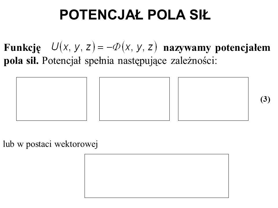 POTENCJAŁ POLA SIŁ Funkcję nazywamy potencjałem pola sił. Potencjał spełnia następujące zależności: