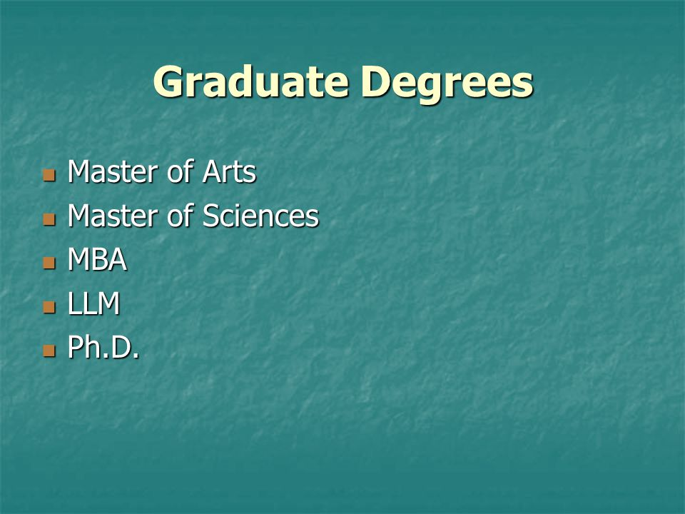Graduate Degrees Master of Arts Master of Sciences MBA LLM Ph.D.