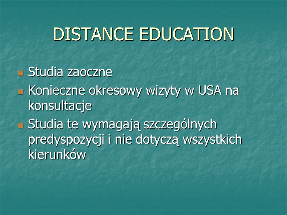 DISTANCE EDUCATION Studia zaoczne