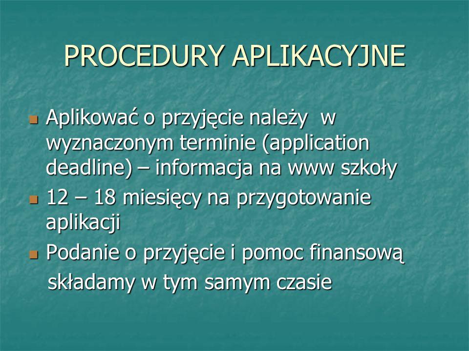 PROCEDURY APLIKACYJNE
