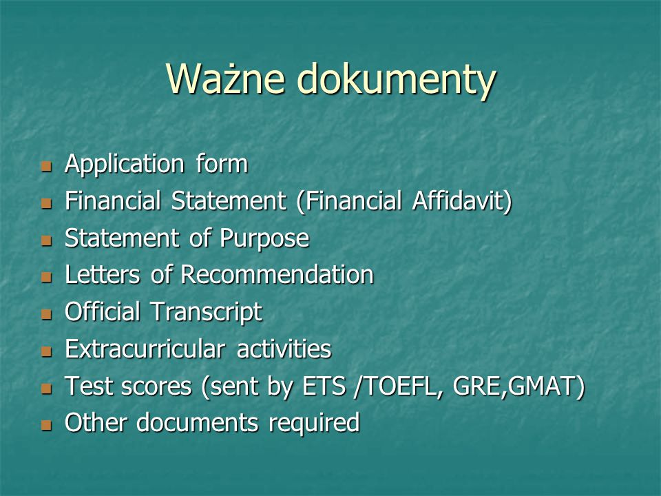 Ważne dokumenty Application form
