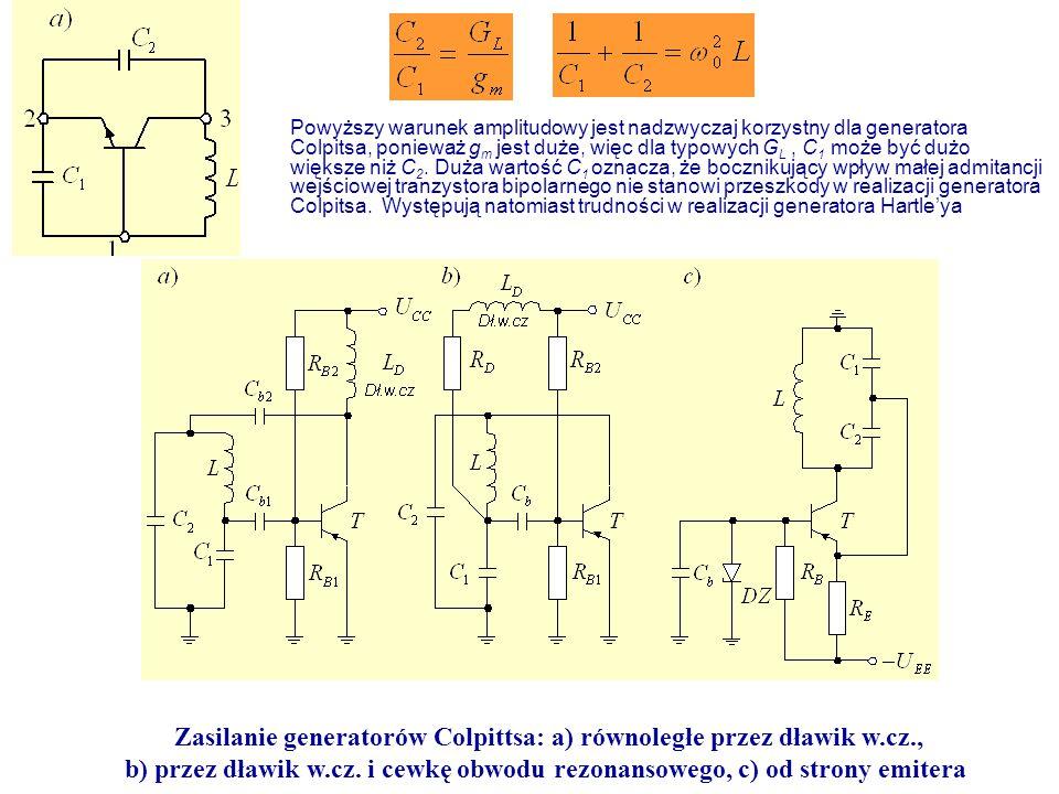 Zasilanie generatorów Colpittsa: a) równoległe przez dławik w.cz.,