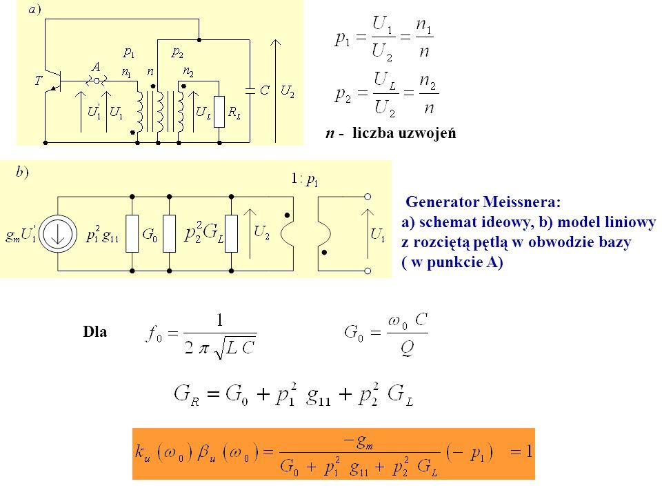 n - liczba uzwojeń Generator Meissnera: a) schemat ideowy, b) model liniowy. z rozciętą pętlą w obwodzie bazy.