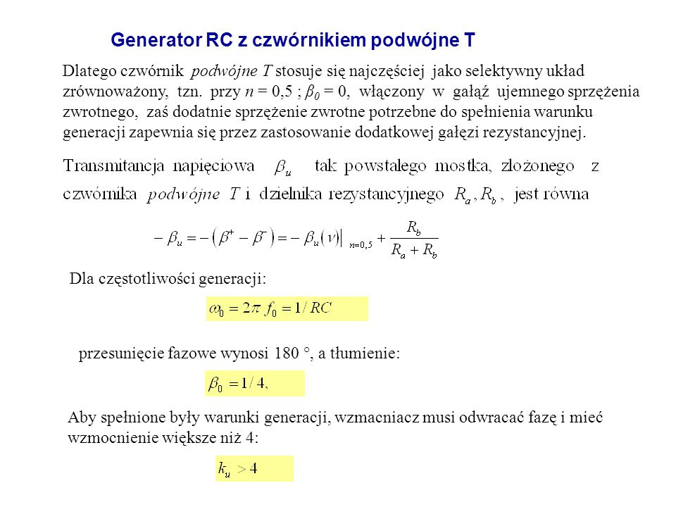 Generator RC z czwórnikiem podwójne T