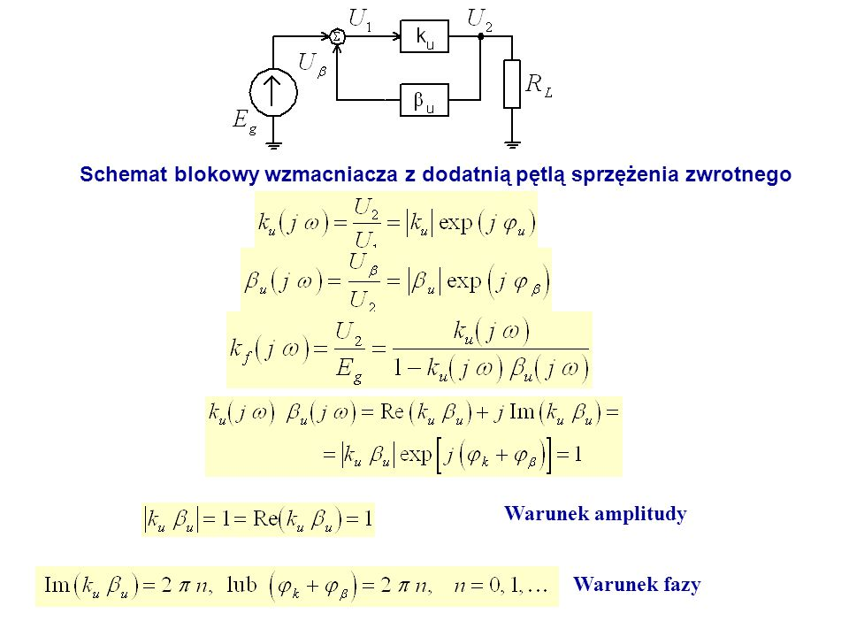 Schemat blokowy wzmacniacza z dodatnią pętlą sprzężenia zwrotnego