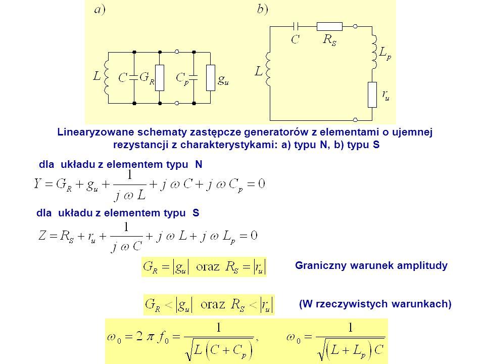 Linearyzowane schematy zastępcze generatorów z elementami o ujemnej