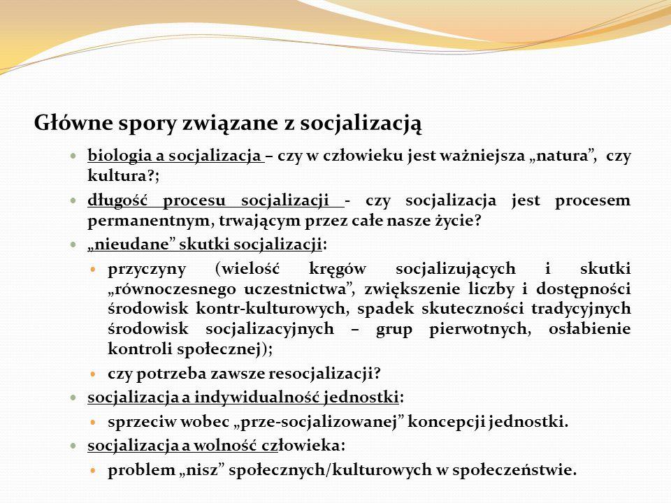 Główne spory związane z socjalizacją