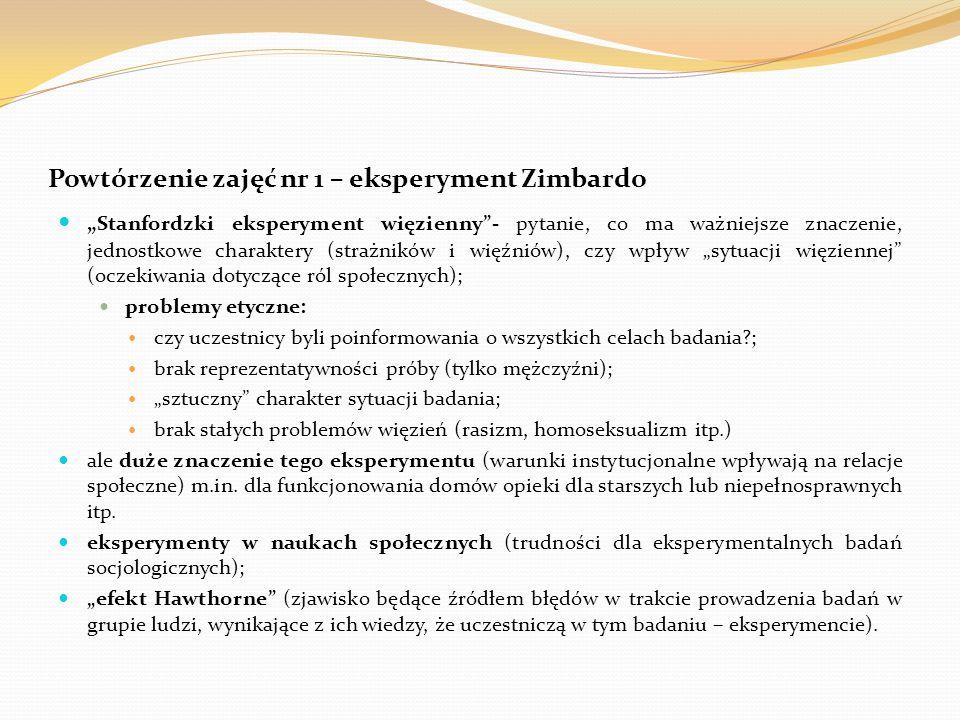 Powtórzenie zajęć nr 1 – eksperyment Zimbardo