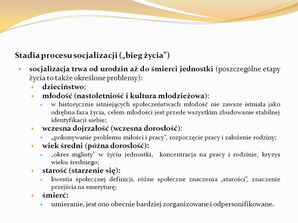 """Stadia procesu socjalizacji (""""bieg życia )"""