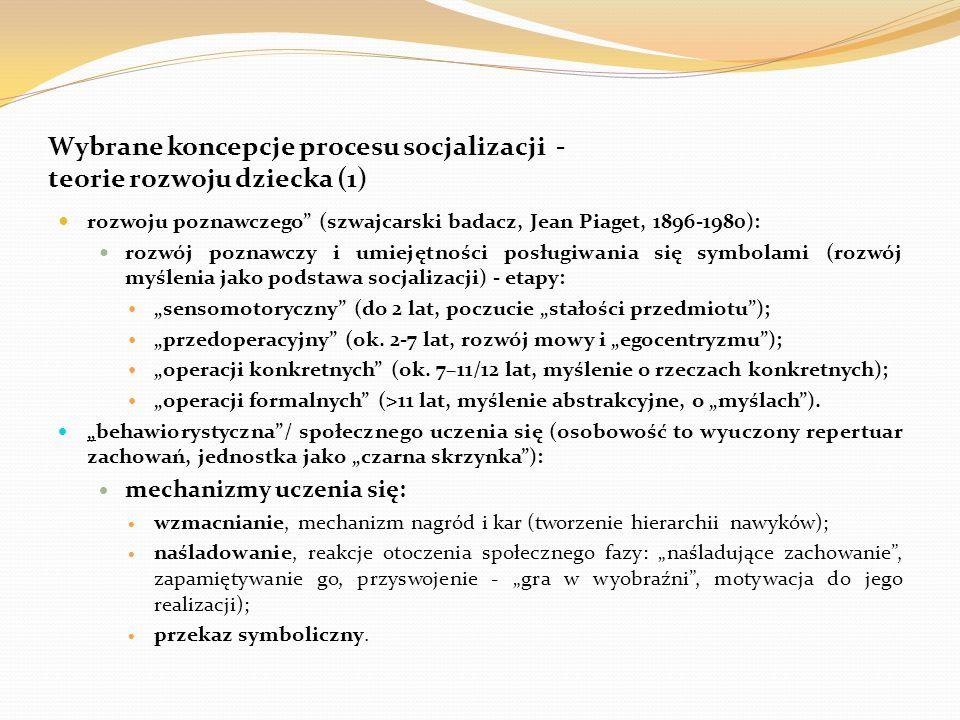 Wybrane koncepcje procesu socjalizacji - teorie rozwoju dziecka (1)