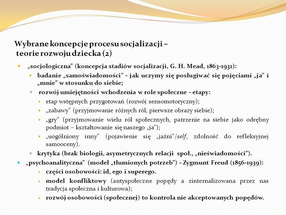 Wybrane koncepcje procesu socjalizacji – teorie rozwoju dziecka (2)