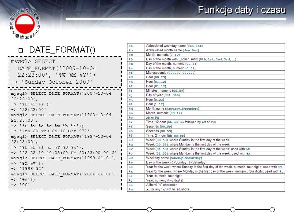 Funkcje daty i czasu DATE_FORMAT() mysql> SELECT