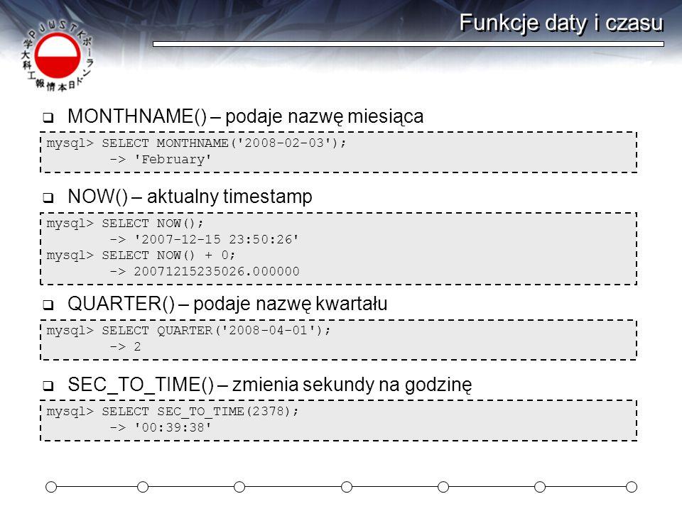 Funkcje daty i czasu MONTHNAME() – podaje nazwę miesiąca