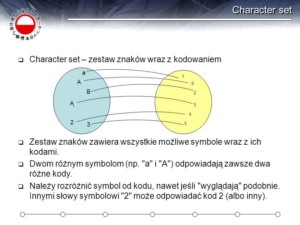 Character set Character set – zestaw znaków wraz z kodowaniem