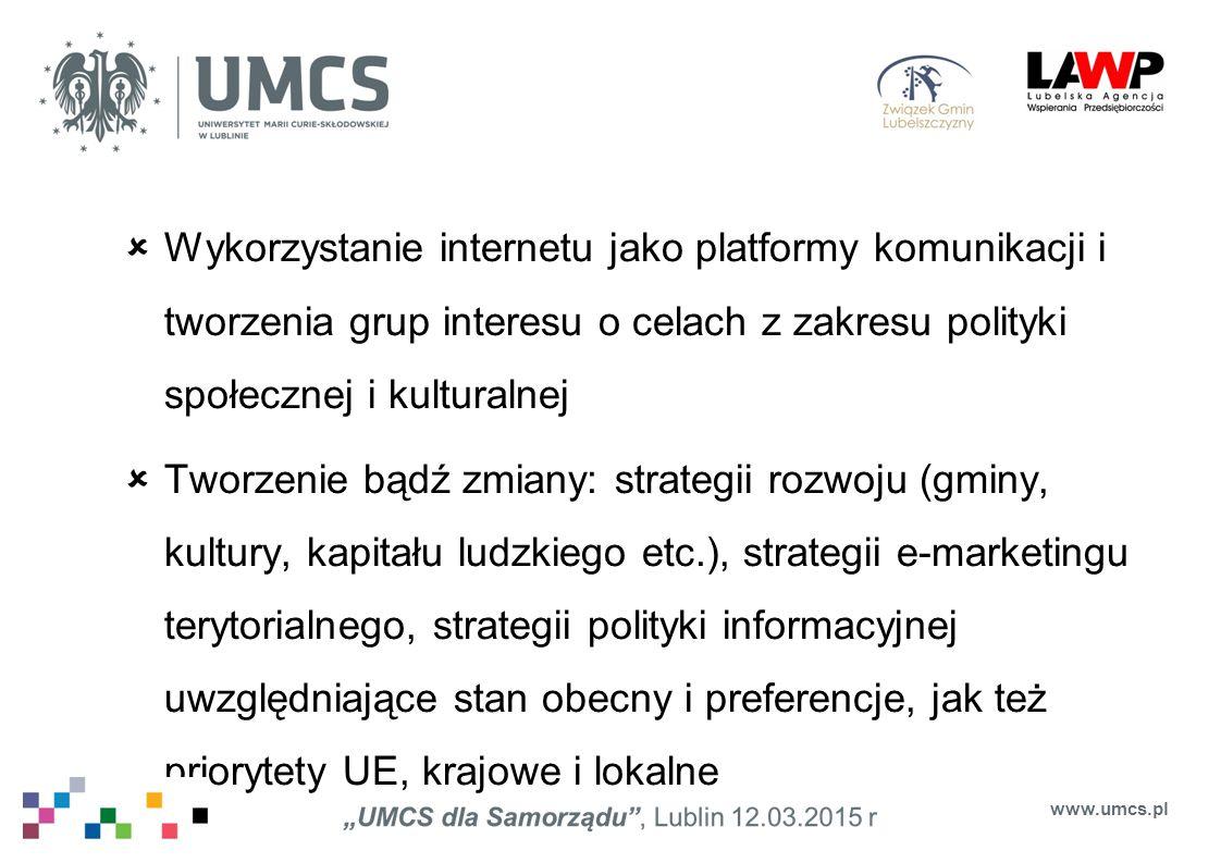 Wykorzystanie internetu jako platformy komunikacji i tworzenia grup interesu o celach z zakresu polityki społecznej i kulturalnej
