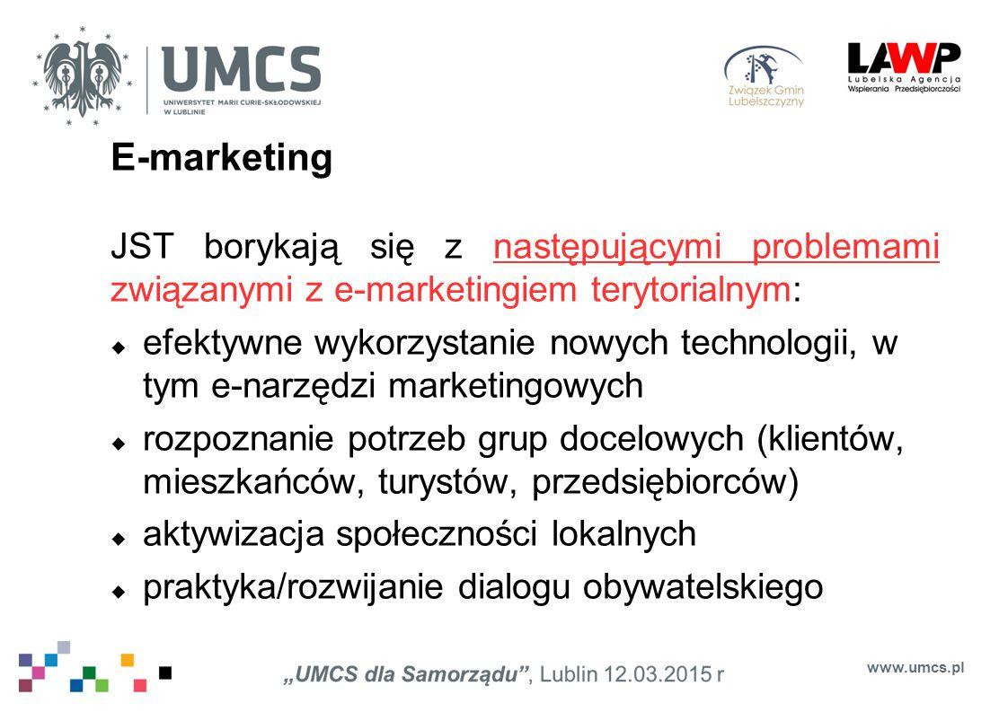 E-marketing JST borykają się z następującymi problemami związanymi z e-marketingiem terytorialnym: