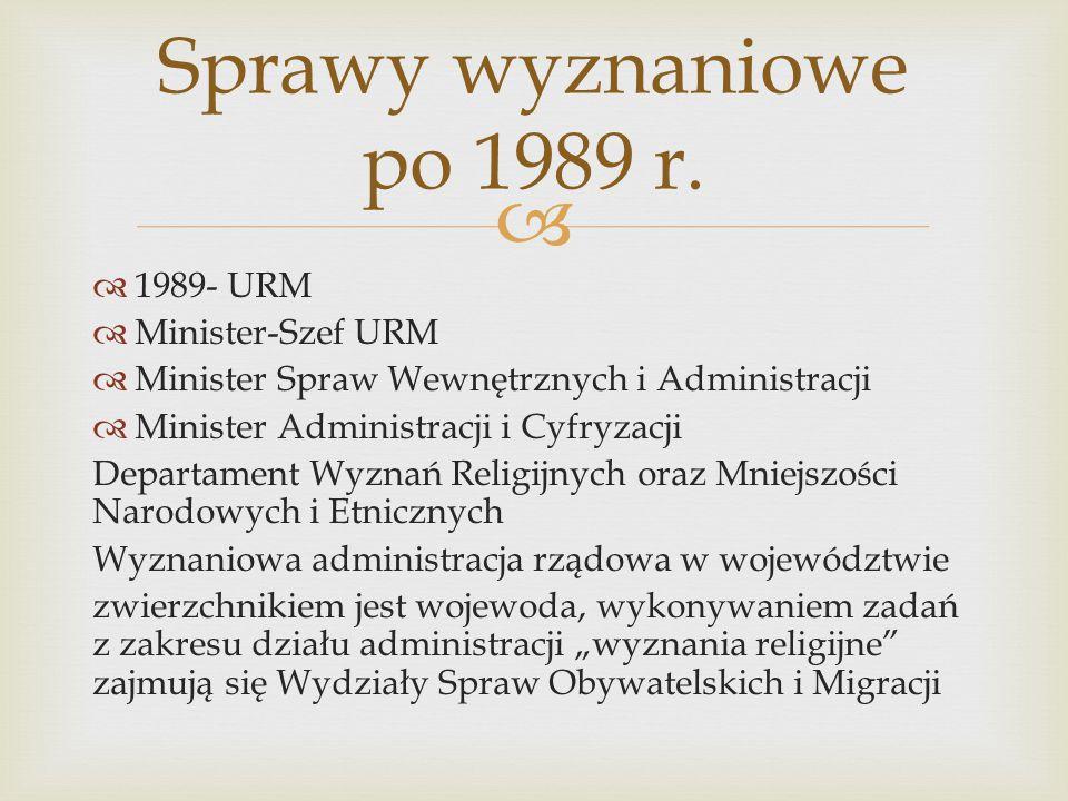 Sprawy wyznaniowe po 1989 r. 1989- URM Minister-Szef URM