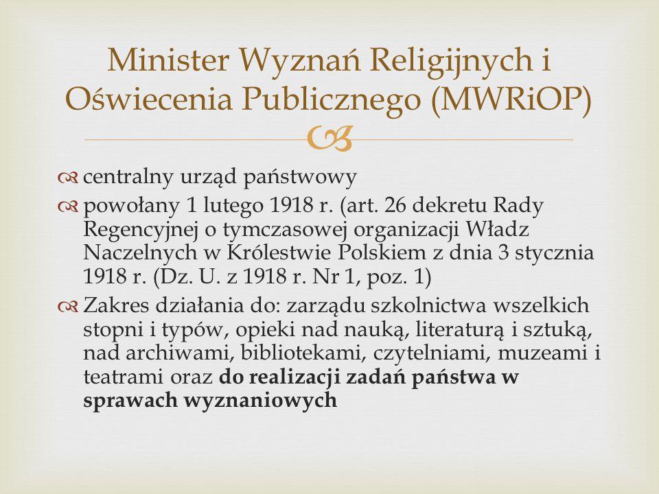Minister Wyznań Religijnych i Oświecenia Publicznego (MWRiOP)