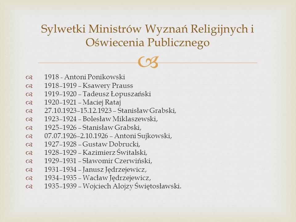 Sylwetki Ministrów Wyznań Religijnych i Oświecenia Publicznego