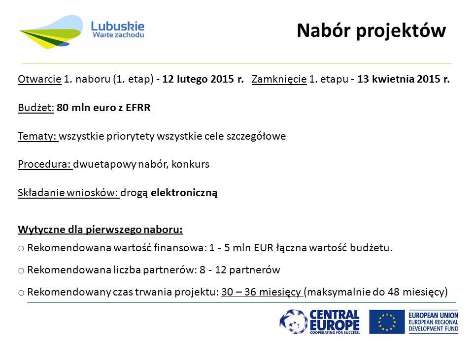 Nabór projektów Otwarcie 1. naboru (1. etap) - 12 lutego 2015 r. Zamknięcie 1. etapu - 13 kwietnia 2015 r.