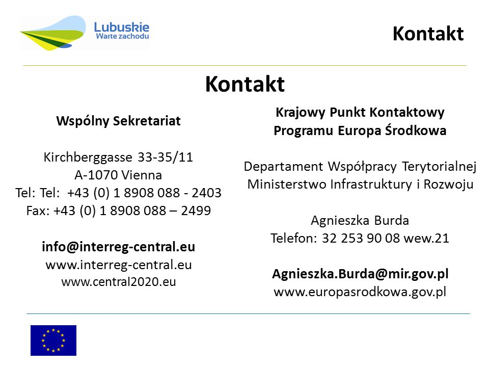 Krajowy Punkt Kontaktowy Programu Europa Środkowa
