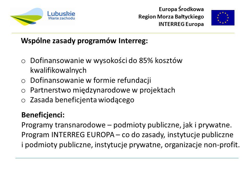 Wspólne zasady programów Interreg: