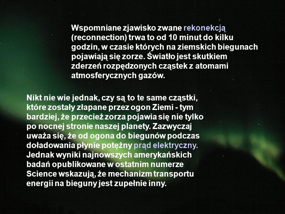Wspomniane zjawisko zwane rekonekcją (reconnection) trwa to od 10 minut do kilku godzin, w czasie których na ziemskich biegunach pojawiają się zorze. Światło jest skutkiem zderzeń rozpędzonych cząstek z atomami atmosferycznych gazów.