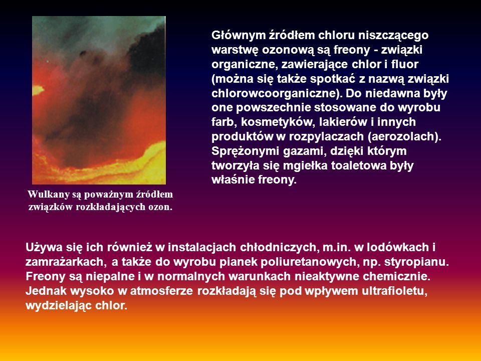 Wulkany są poważnym źródłem związków rozkładających ozon.
