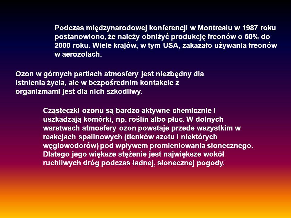 Podczas międzynarodowej konferencji w Montrealu w 1987 roku postanowiono, że należy obniżyć produkcję freonów o 50% do 2000 roku. Wiele krajów, w tym USA, zakazało używania freonów w aerozolach.