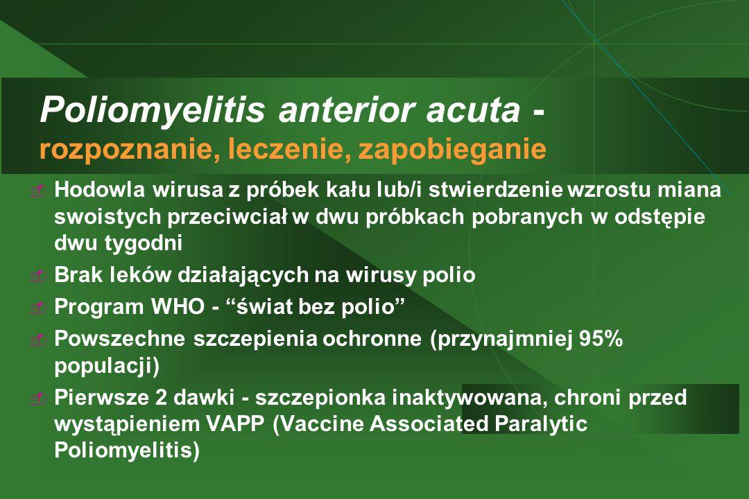 Poliomyelitis anterior acuta - rozpoznanie, leczenie, zapobieganie